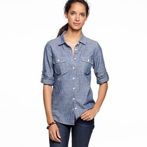 J Crew The Perfect Shirt Chambray Button Down